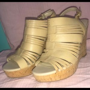 Tan Strappy Wedge Heels
